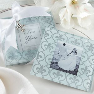Fleur-de-Lis Frosted Glass Photo Coasters