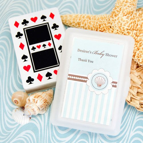 Beach Themed Baby Shower Playing Cards With Personalized Labels