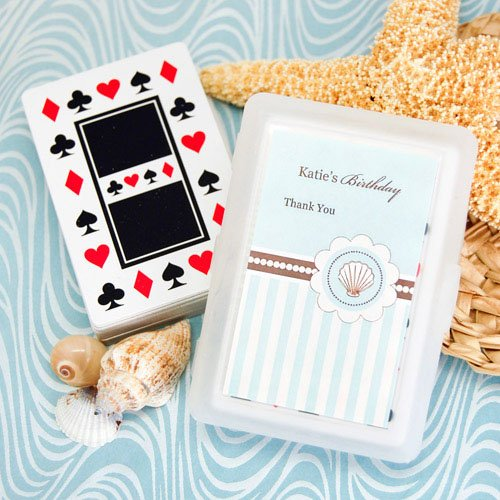 Beach Themed Birthday Playing Cards With Personalized Labels