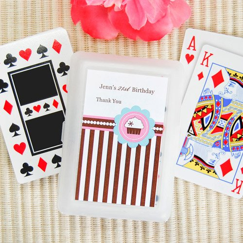 Cupcake Themed Birthday Playing Cards With Personalized Labels