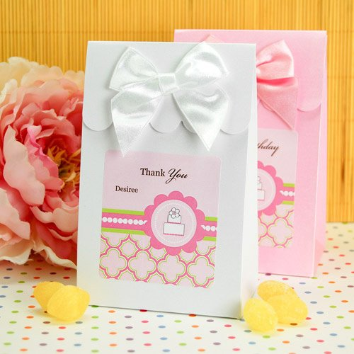 Personalized Pink Cake Candy Bags
