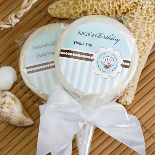 Personalized Beach Themed Lollipop Favors