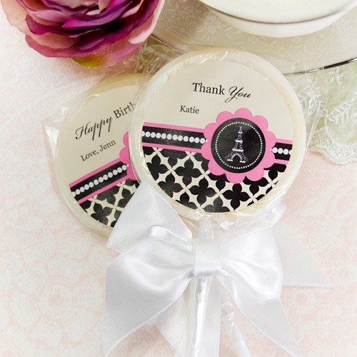 Personalized Paris Themed Lollipop Favor
