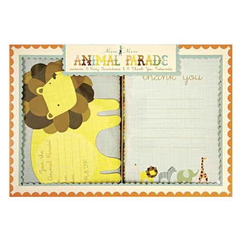 Animal Parade Party Invitations And Thank You Notes Set