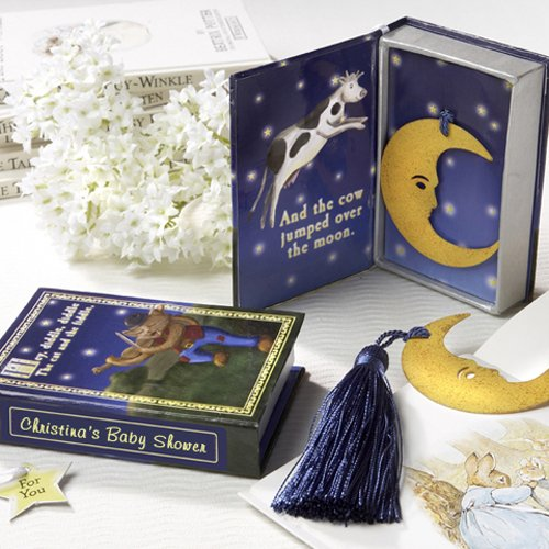 Over The Moon Bookmark In Nursery Rhyme Keepsake Box With Personalized Label