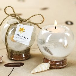 Sand and Shell-Filled Tea Light Holder