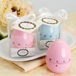 Pink and Blue Baby Shower Egg Timers with Personalized Tags