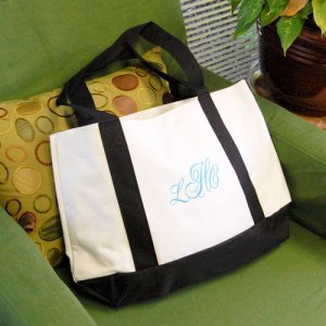 Personalized White and Black Canvas Tote Bag