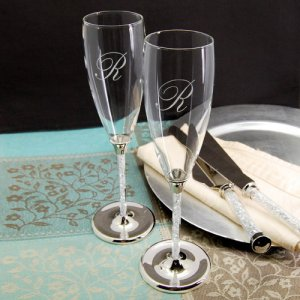Glittering Beads Personalized Toasting Flutes