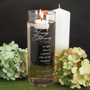 "Personalized ""In Loving Memory"" Glass Cylinder"