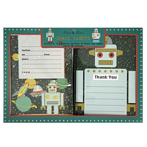 Space Robot Party Invitations And Thank You Notes