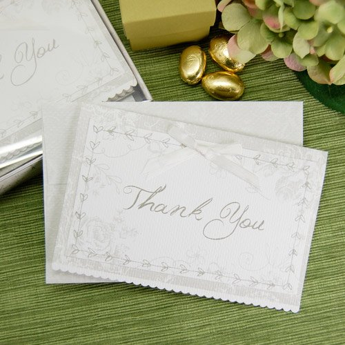 Classic White Floral Party Thank You Notes