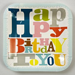Bright Pattern Birthday Party Plates