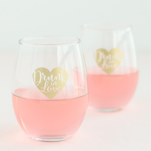 Personalized Drunk in Love 15 oz. Stemless Wine Glass