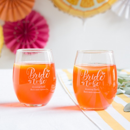 Personalized Bride to Be Stemless Wine Glasses