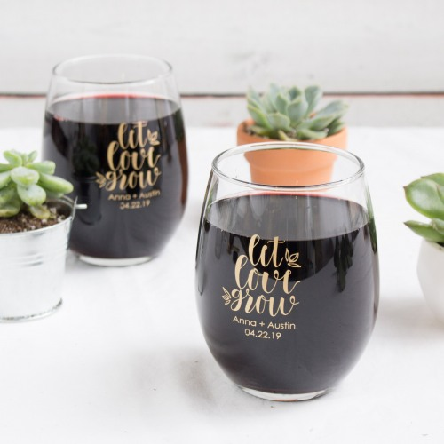 Personalized Let Love Grow Stemless Wine Glasses