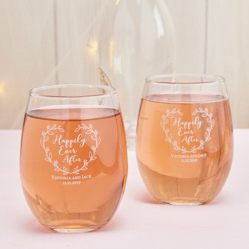 Personalized 15 oz. Stemless Wine Glass happily ever after