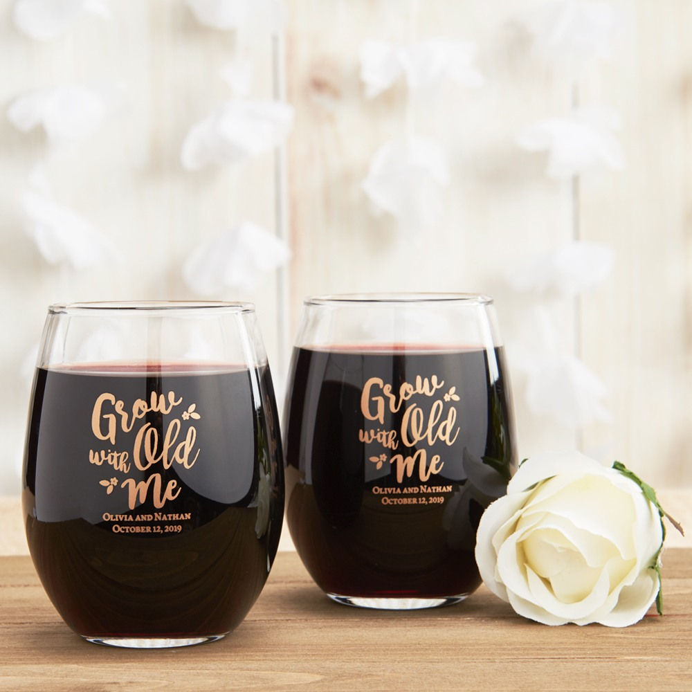 Personalized 15 Oz Stemless Wine Glass Favors Beau Coup