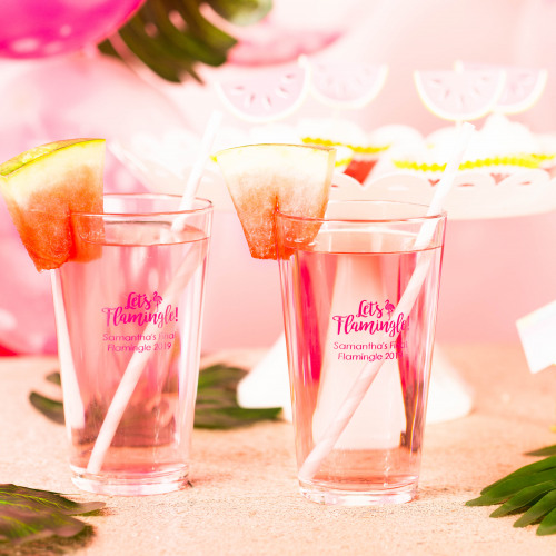 Personalized Let's Flamingle Pint Glass