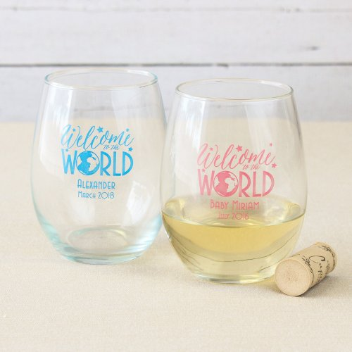 Personalized Welcome to the World 15 oz. Stemless Wine Glasses