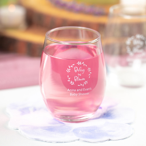 Personalized Baby in Bloom 15 oz. Stemless Wine Glass
