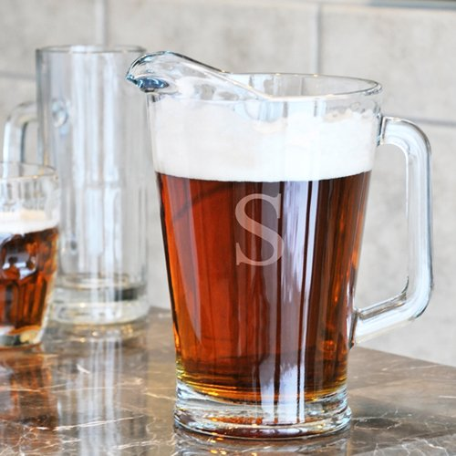 Monogrammed Glass Pitcher