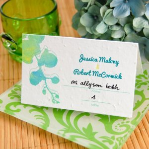 Watercolor Orchids Plantable Place Card