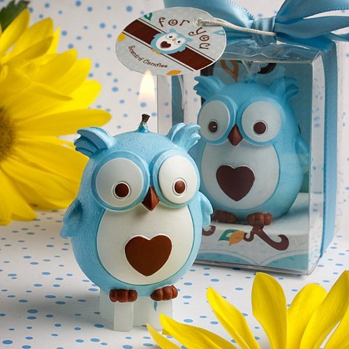 Baby Blue Owl Candle Favor
