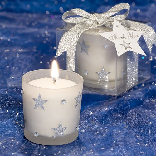 Glitter Star Frosted Glass Candle Favor
