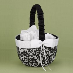 Black and White Damask Flower Girl Basket