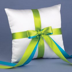 Custom Two-Ribbon White Ring Bearer Pillow