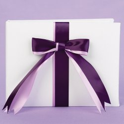 Custom Two-Ribbon White Guest Book