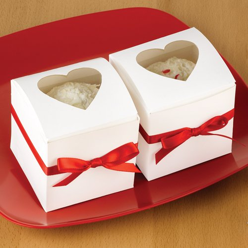 White Heart Window Cupcake Boxes