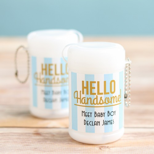 Personalized Hello Handsome Mini Wet Wipes