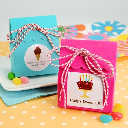 Party Theme Scalloped Favor Bags with Personalized Labels and Twine