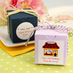 Party Theme Square Favor Box with Personalized Label and Twine