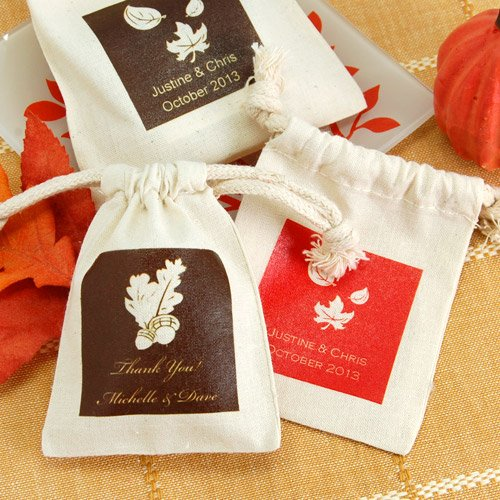 Personalized Autumn Silhouette Natural Cotton Favor Bags