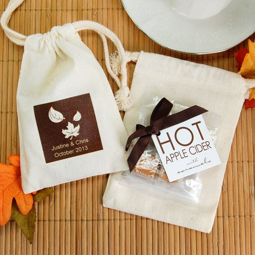 Apple Cider Drink Mix in Personalized Natural Cotton Favor Bag