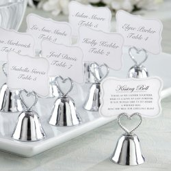 Silver Heart Bell Place Card Holders