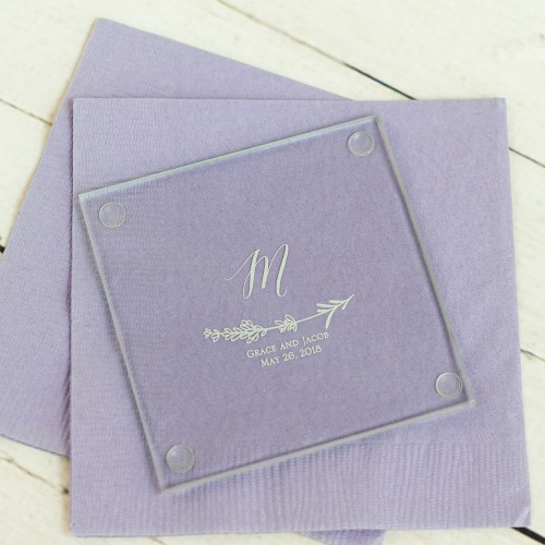 Personalized Lavender Sprig Glass Coasters
