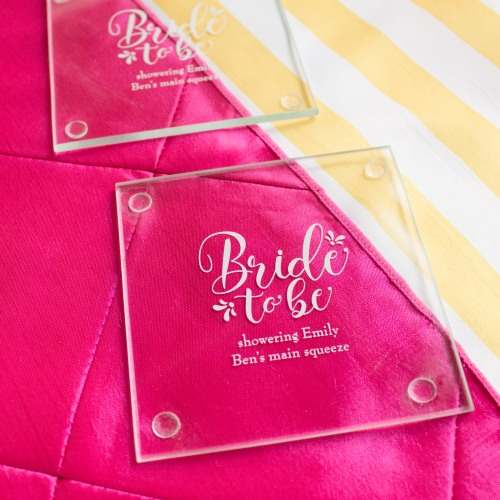 Personalized Bride to Be Glass Coasters