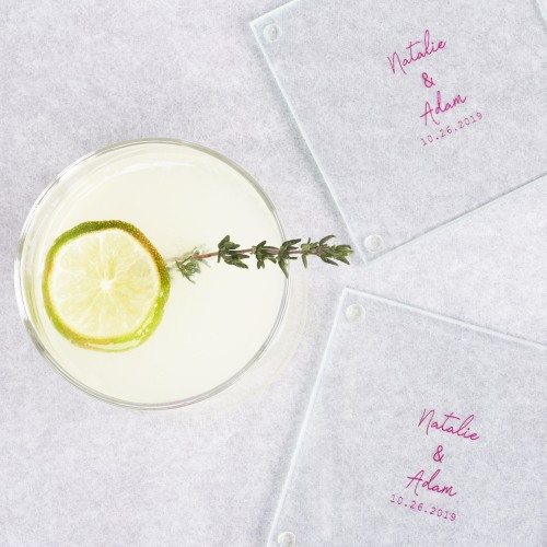 Personalized Glass Coasters industrial script