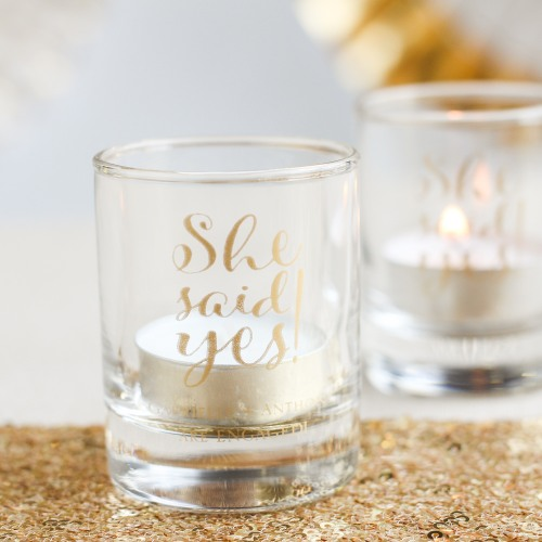Personalized She Said Yes Shot Glass Votive Holder