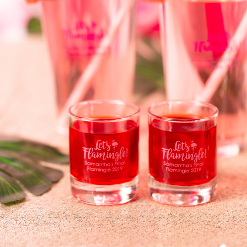 Personalized Let's Flamingle Shot Glass Votive Holder