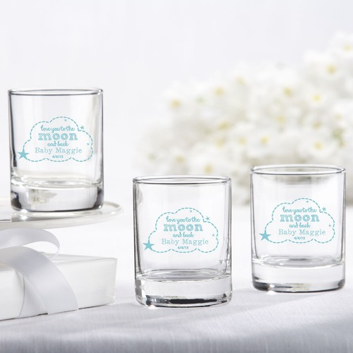 Personalized To the Moon and Back Glass Votive