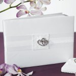 Classic Double Heart White Guest Book