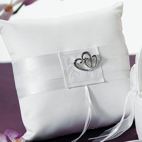 Classic Double Heart White Ring Bearer Pillow
