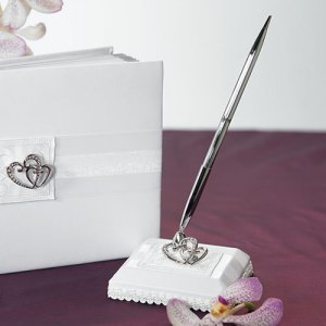 Classic Double Heart White Pen Set