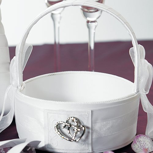 Classic Double Heart White Flower Girl Basket