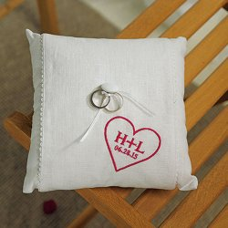 Personalized Initials in Heart Ring Bearer Pillow